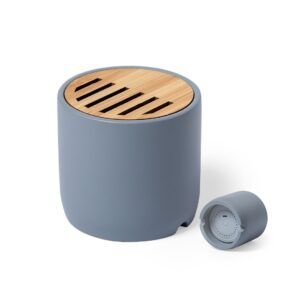 coluna bluetooth de cimento e bambu