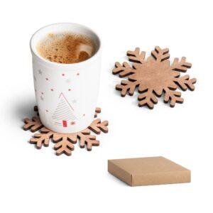 conjunto de bases de copos natalícias em madeira