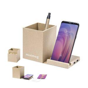 porta-canetas carregador wireless de cartão reciclado