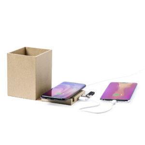 porta-canetas carregador wireless de cartão com telemóveis