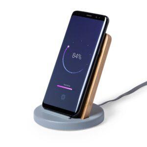 carregador wireless de bambu de cimento com telemóvel