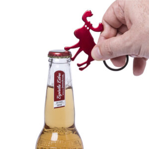 abre-garrafas de alumínio com porta-chaves em formato de rena
