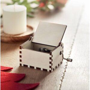 caixa de música natalícia em madeira