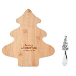 conjunto natalício de tábua de cozinha personalizada em bambu e faca de aço inox